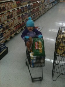 Helping at the grocery store