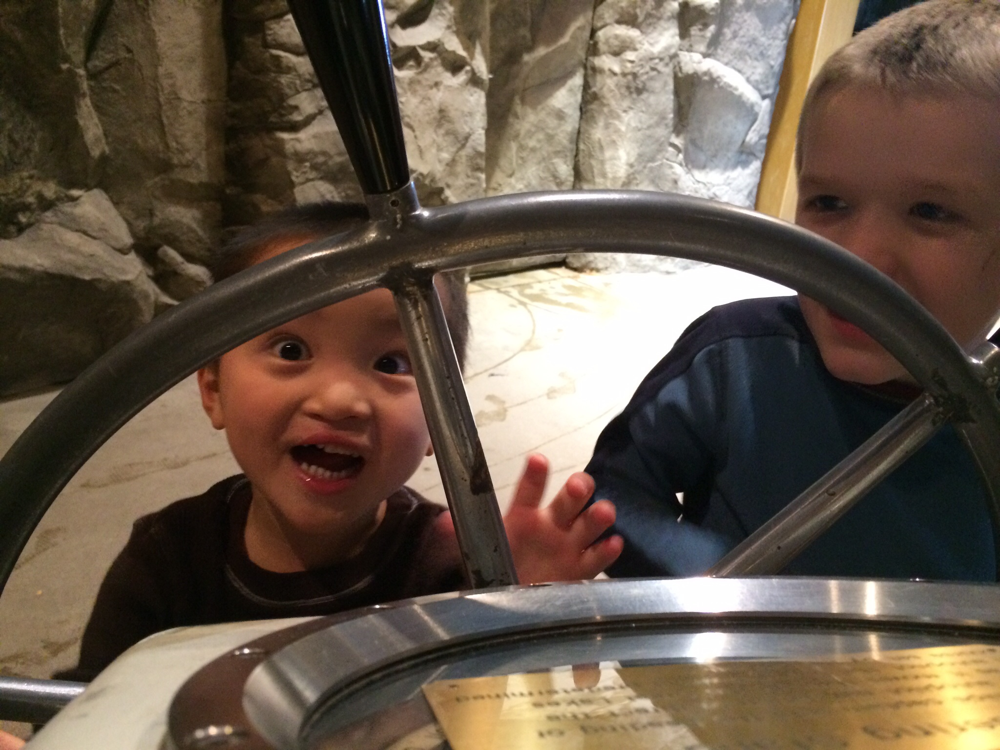 The aquarium never gets old for these 2