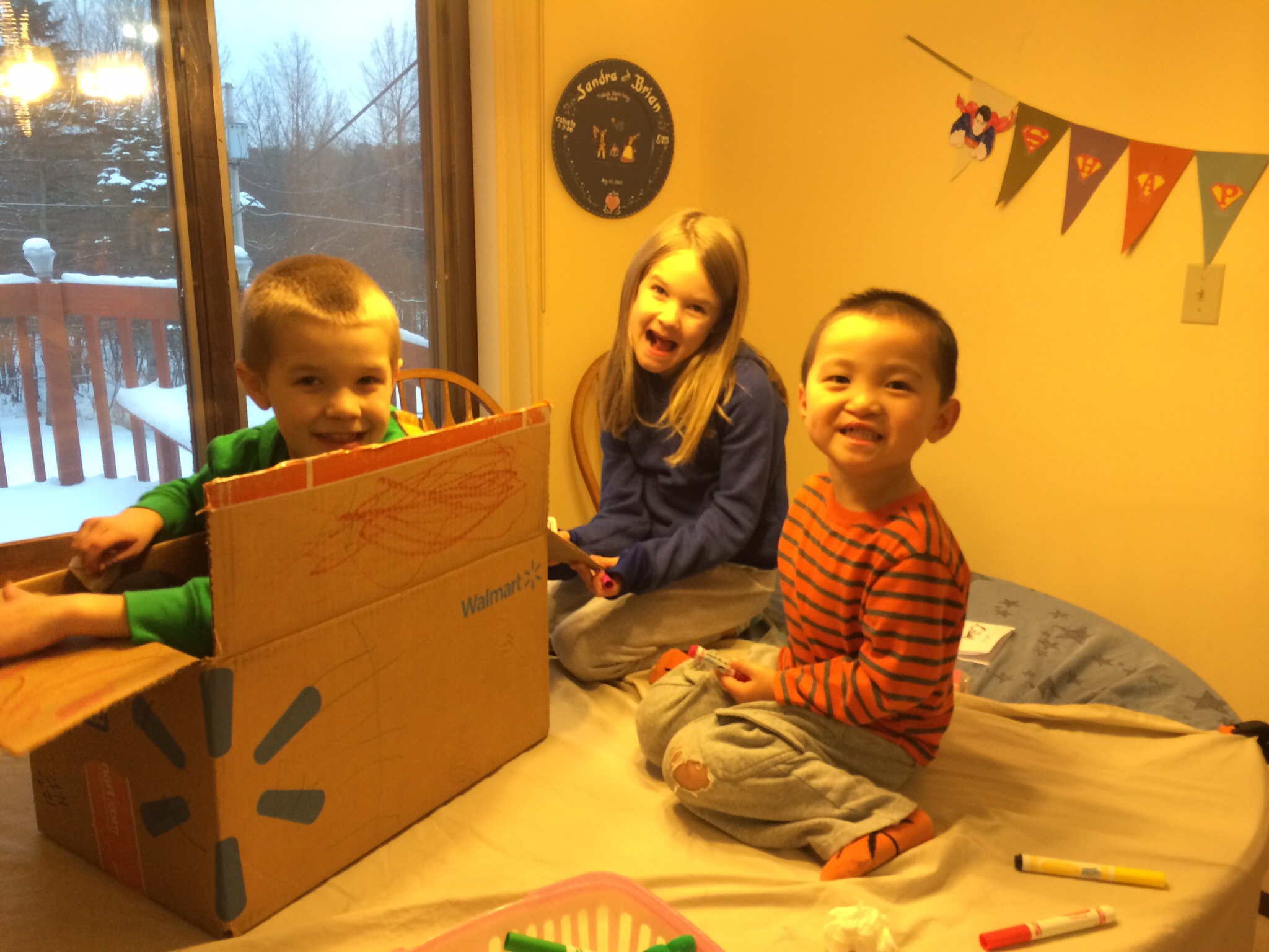 When my kids are sick I like to out them on the table in a box... What do you do?