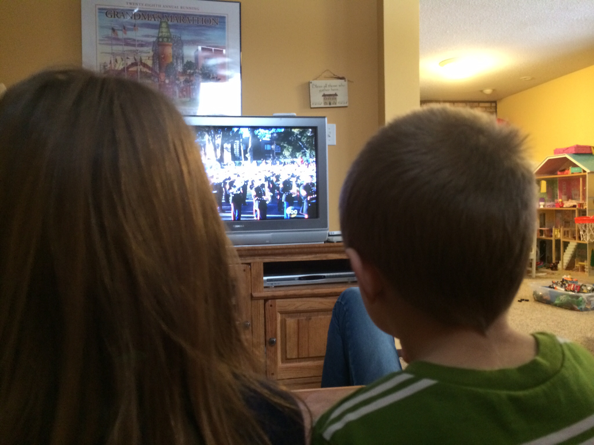 Watching the parade!